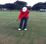 Shot of chipping when swinging your club back
